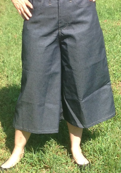Wide Leg Gaucho Style Culottes In Denim with elastic in back-size 16 & 18
