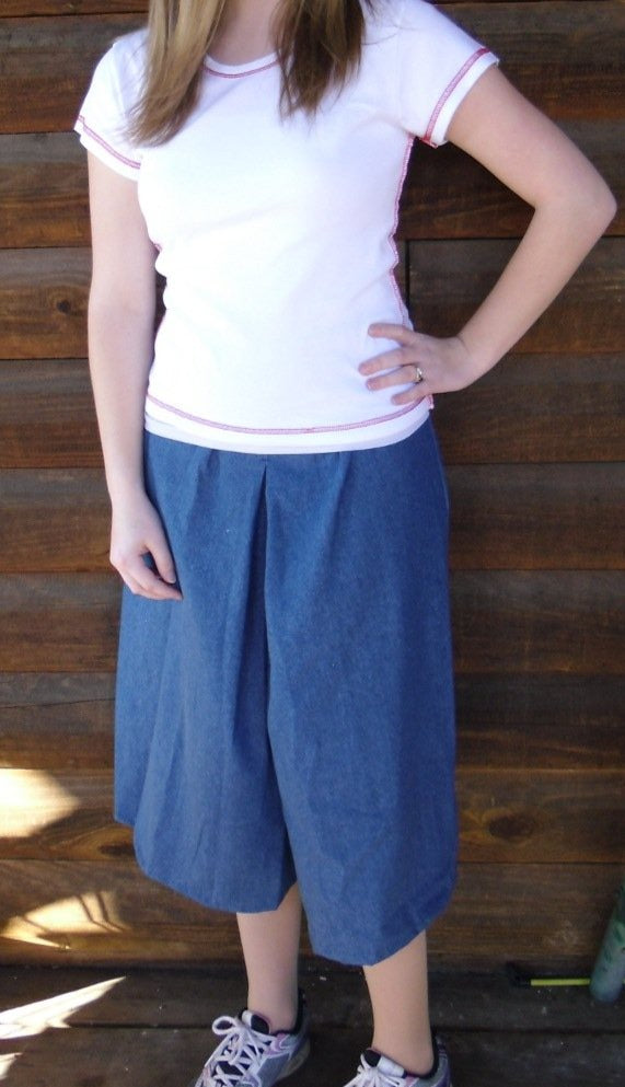 Elastic Waist Inverted Box Pleat Culottes - Solid Colors SIze XS-XL