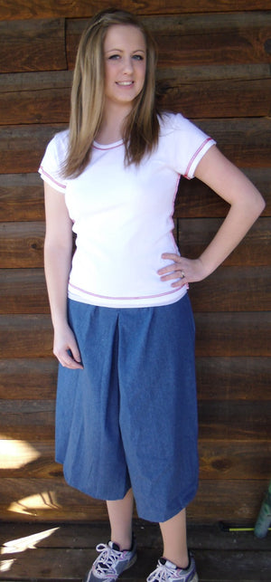 inverted box pleat culotte (picture is medium denim)