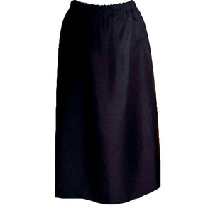 black knit skirt with kick pleat