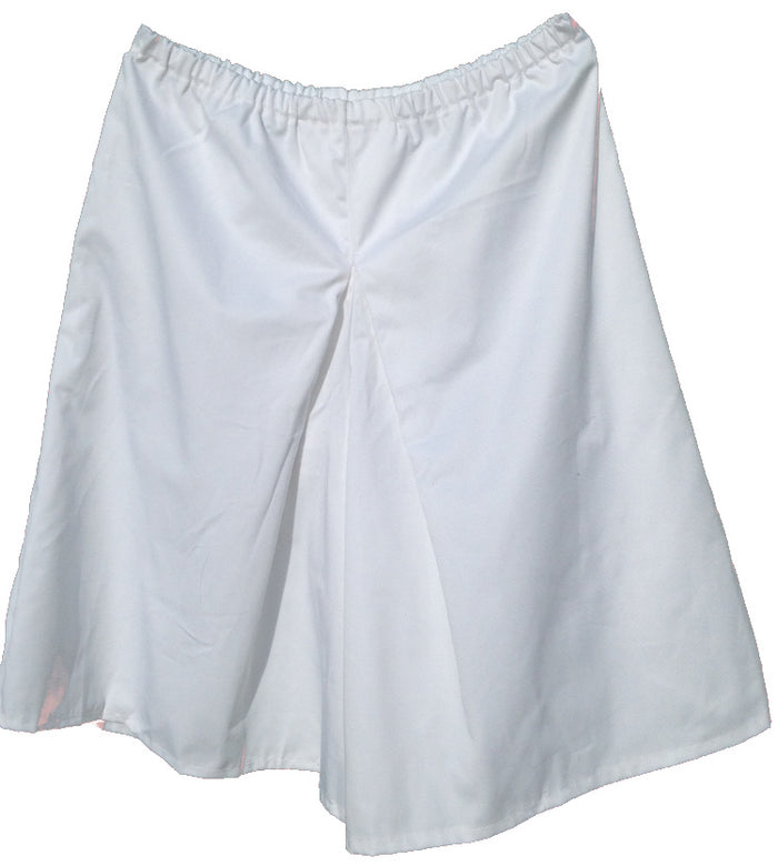 Elastic Waist Inverted Box Pleat Culottes-White 2XL