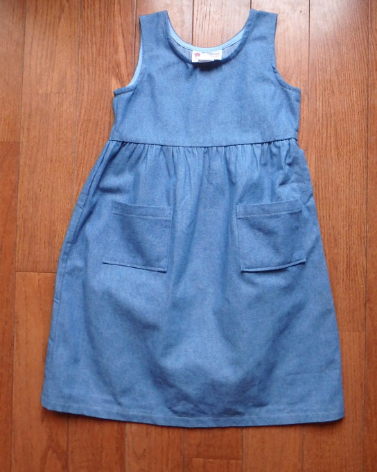 Girls Traditional Jumper -medium blue denim -size 4T
