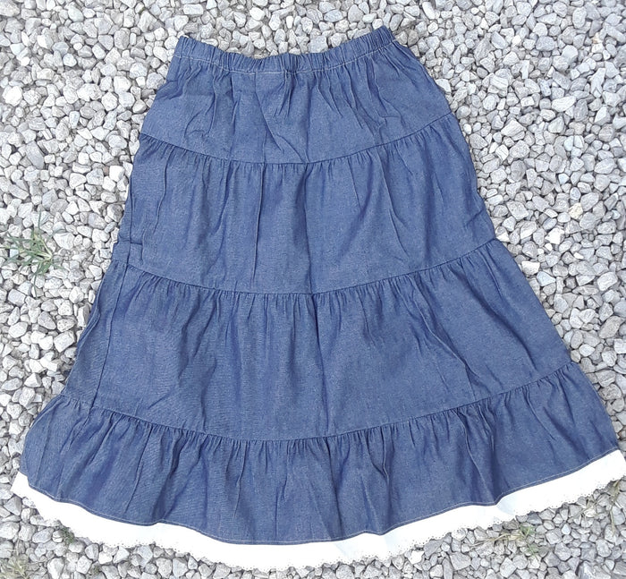 Long Denim Prairie Skirt With Eyelet Lace Trim