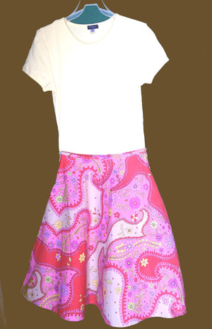 Pink orange and yellow paisley skirt with yellow top