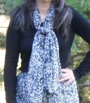 Black and grey leopard print scarf