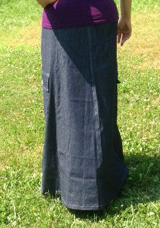 denim skirt with cargo pockets back view