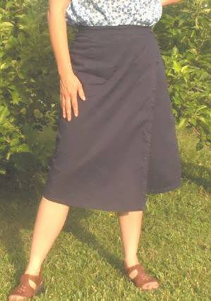 Fitted Skort Midlength Front - Navy
