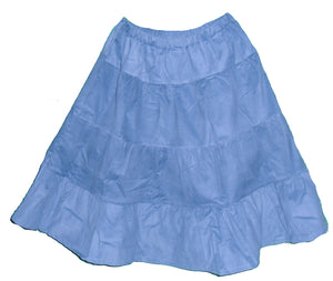 blue corduroy tiered skirt