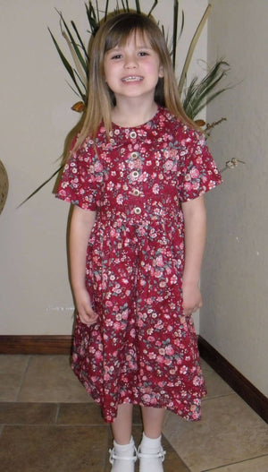 Girls Red Floral Dress