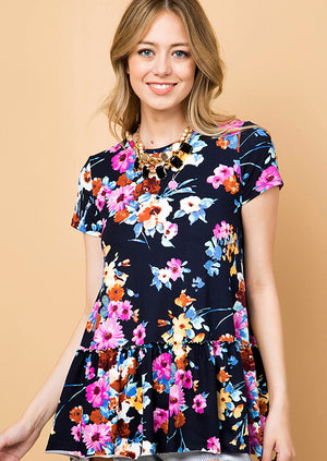 navy floral knit ruffle tunic front