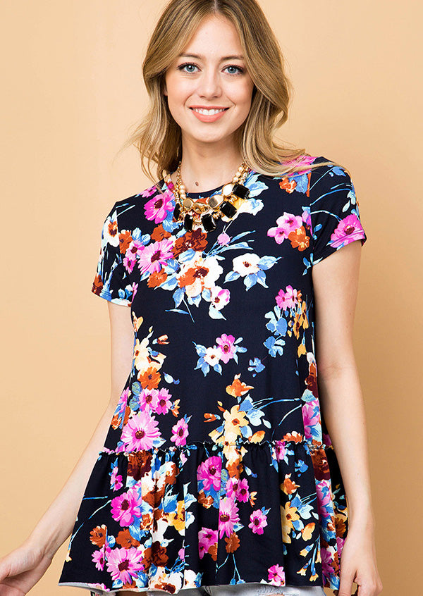 Navy Floral Print Ruffle Tunic