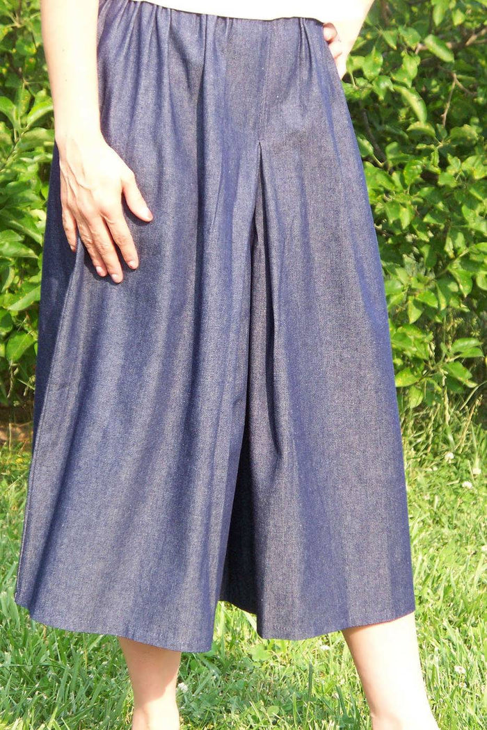 Elastic Waist Inverted Box Pleat Culottes - DENIM SIze XS-XL