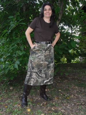 woodland camo skirt front view