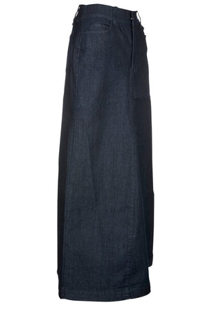 Long denim skirt side view