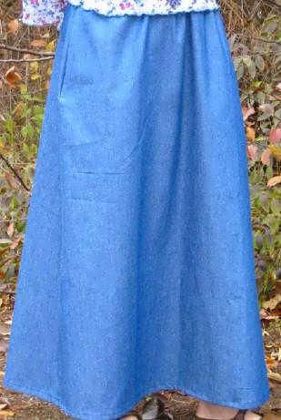 Calf Length Skirt Denim No Slit Sizes Small-2XL