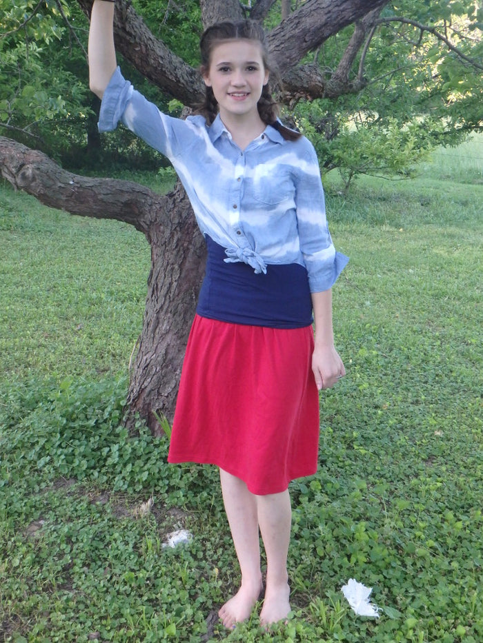 Child calf length Elastic Waist A-Line Knit Skirt - No Slit size 5-8