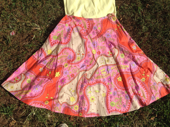 Fitted full A-line Skirt in pink,orang and yellow paisley- Size 8