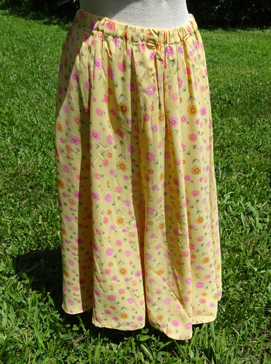 Floral Skirt - 8 Panel Gored Floral Skirt - Yellow and pink -Medium