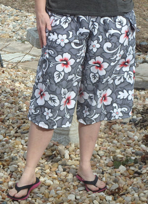 grey print culotte for swimming