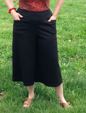 black ponte knit gaucho with pockets