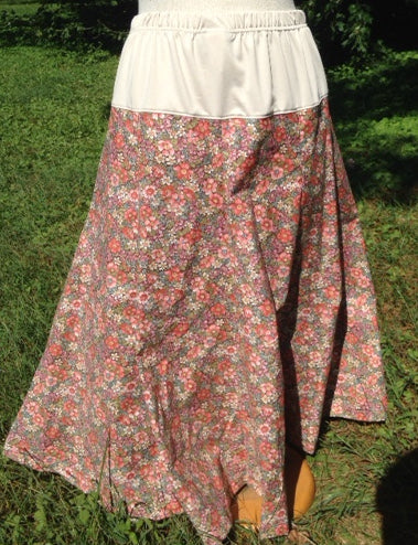 Long Gored Maternity Skirt In print