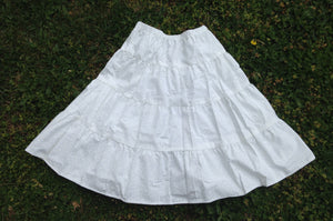 girls skirt prairie white