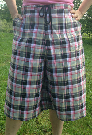 pink plaid drawstring culotte