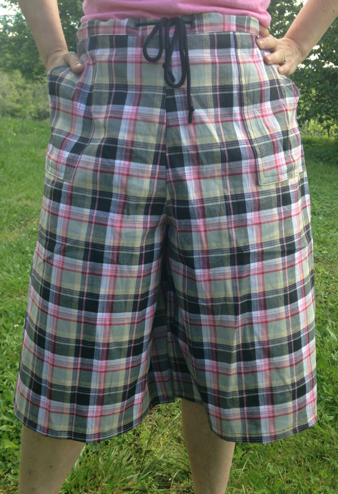 Drawstring Culottes Pink Plaid