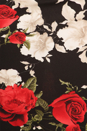 black and red rose floral print