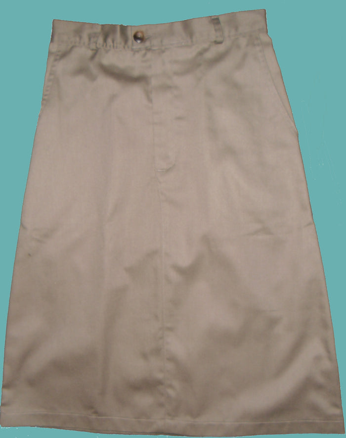 Long twill uniform skirt with pockets no belt loops adjustable waistband