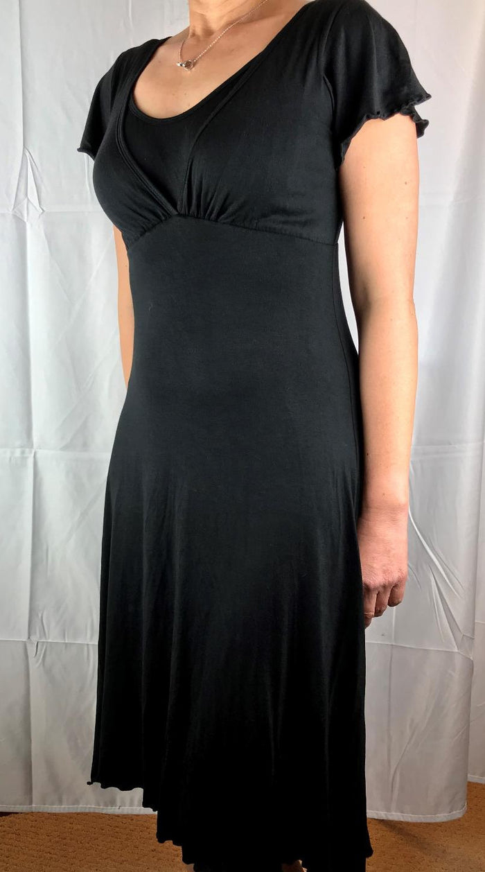 black Knee length v-neck dress