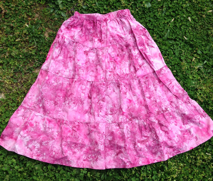 Ladies Tie Dye Prairie Skirt -fucia Size Medium