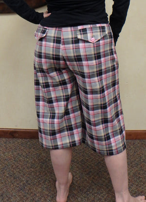 pink plaid bermuda shorts back