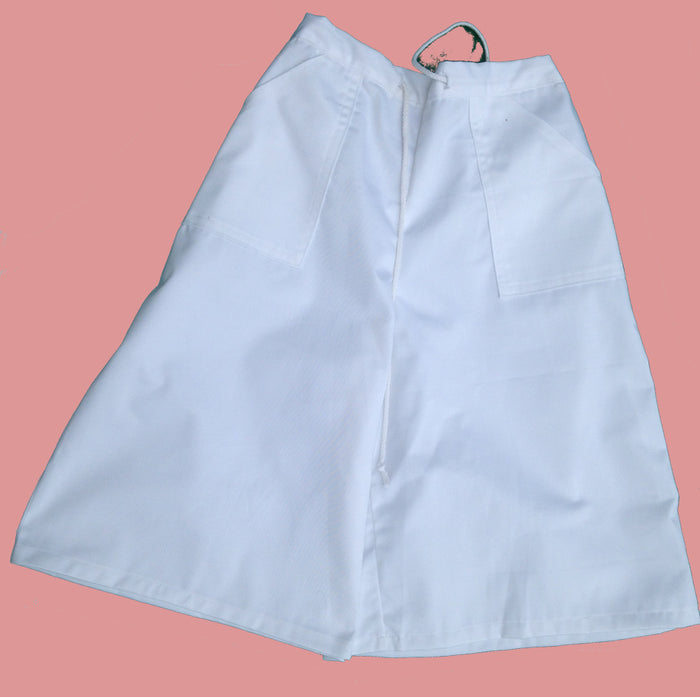 Twill Drawstring Culottes -small white