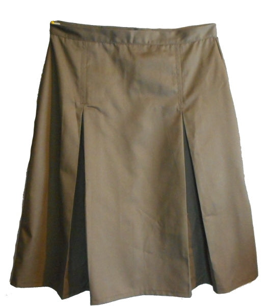 Girls Pleated School Uniform Skirt-khaki 6