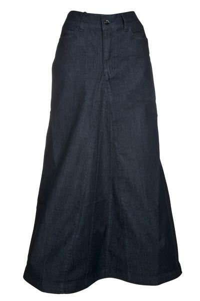 Long denim skirt with middle panels