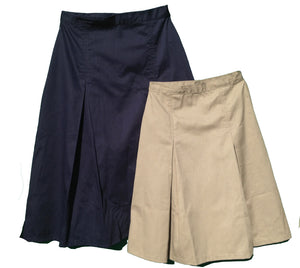 Pleated uniform skirts in navy and khaki