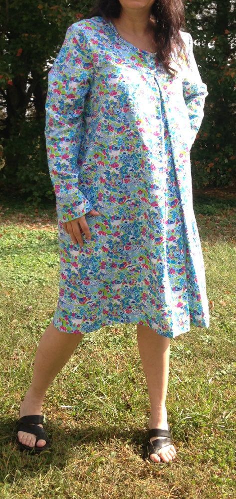 Floral Print flannel Nursing Nightgown-long Sleeve-2XL IMPERFECT