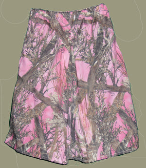 girls box pleat culotte in pink woods camo