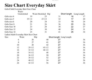 size chart for everyday skirt
