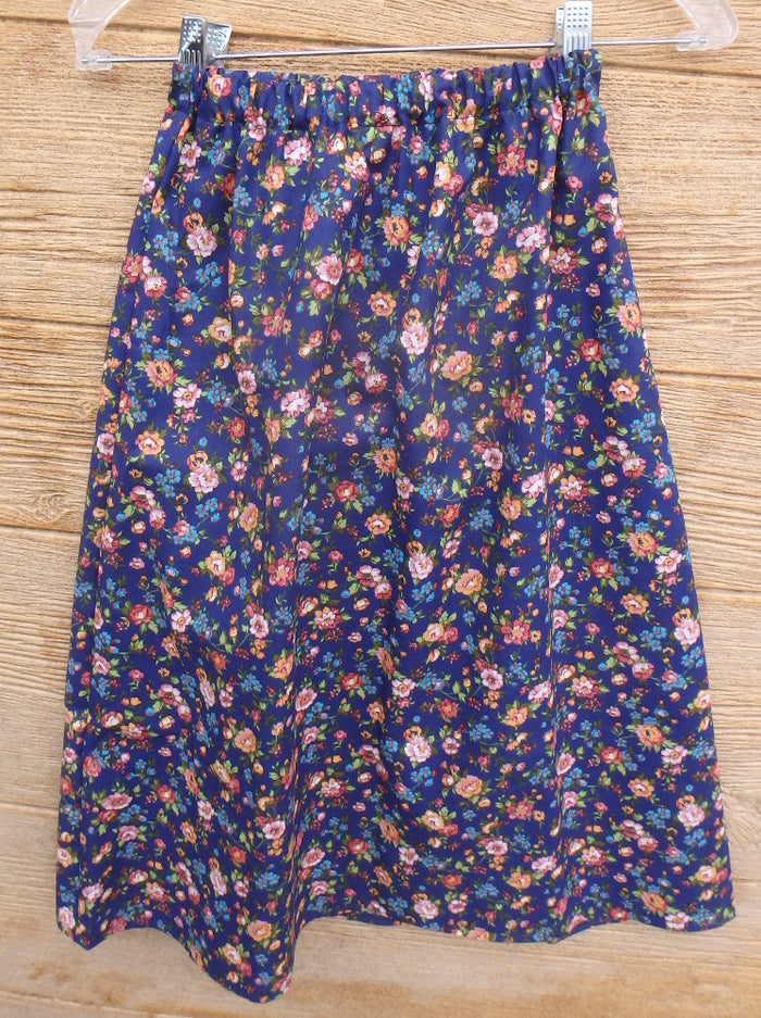 Girls Long Elastic Waist Print Skirt
