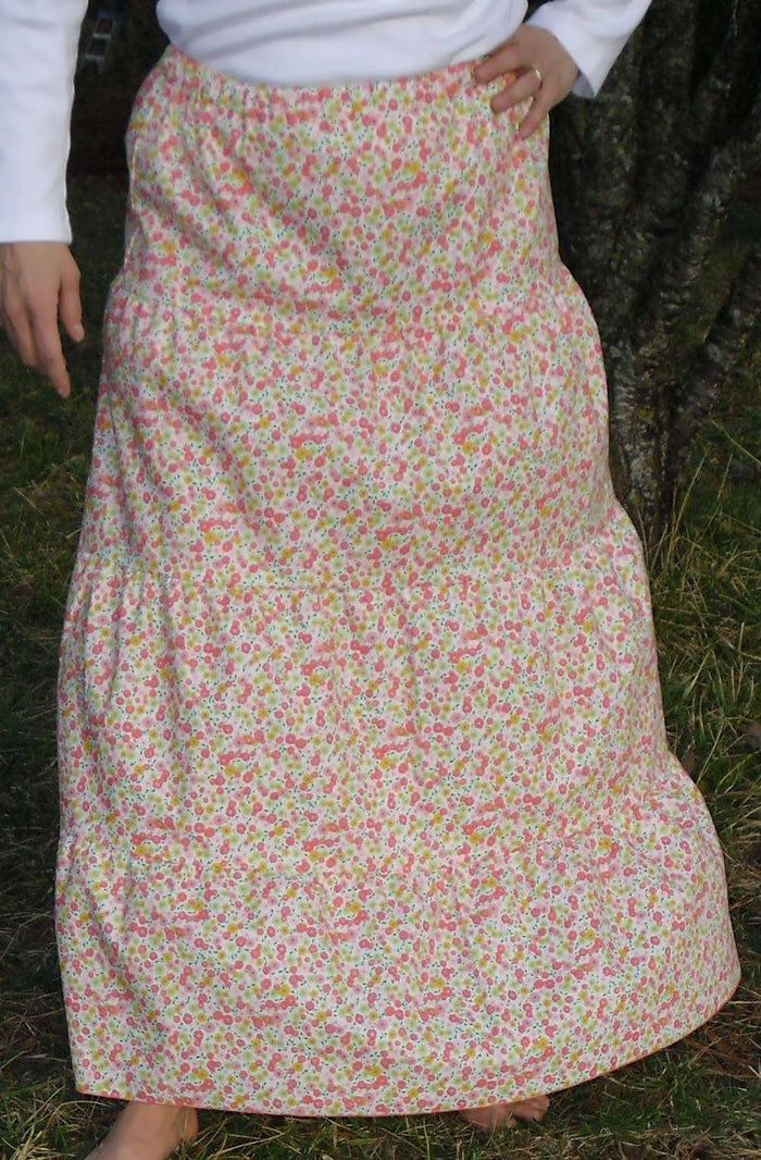Long Cotton Print Skirt - Floral Prairie Comes In 2 Lengths