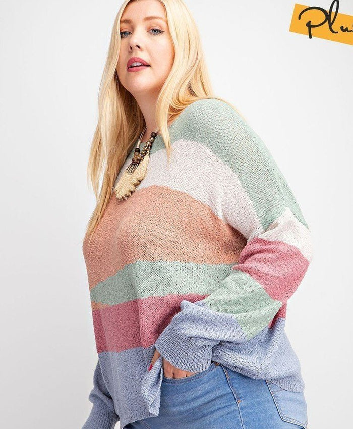 Plus Size Striped Light Weight Knitted Sweater Top