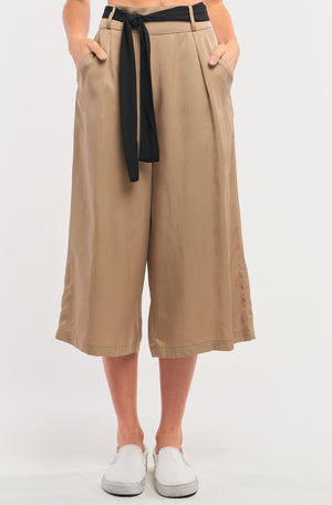 Beige High Waist Self-tie Belt Detail Flare Capri Pants