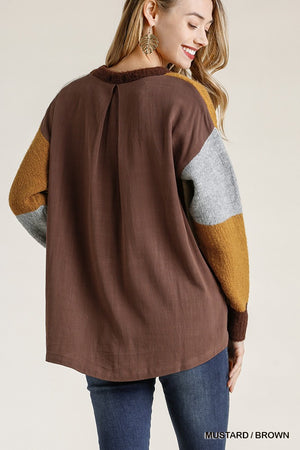 Colorblock Contrasted Cotton Fabric On Back Top With Side Slits And High Low Hem