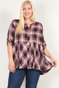 Plus Size Roll Sleeve Baby Doll Plaid Tunic Top