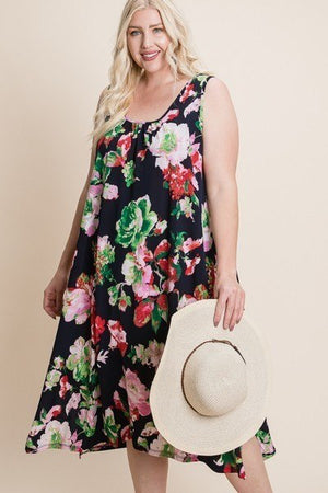Plus Size Floral Bulgari Printed Tank Midi Dress With Asymmetrical Hem