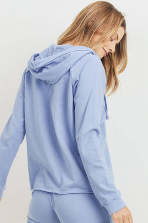 French Terry Hood With V-neck Long Sleeve Top
