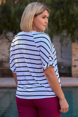 Plus White & Black Stripped V-neck With Vegan Leather Detail Short Roll Up Sleeve Relaxed Fit Top
