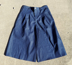 Front Pleat Culottes With Front Fly Zipper In long ankle length XL Denim